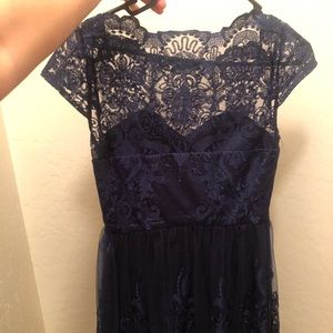 Midi dress with sheer top lace